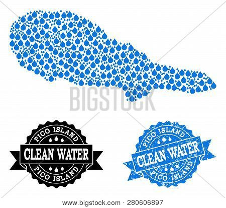 Map Of Pico Island Vector Mosaic And Clean Water Grunge Stamp. Map Of Pico Island Formed With Blue W
