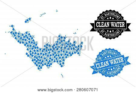 Map Of Saint Barthelemy Vector Mosaic And Clean Water Grunge Stamp. Map Of Saint Barthelemy Created