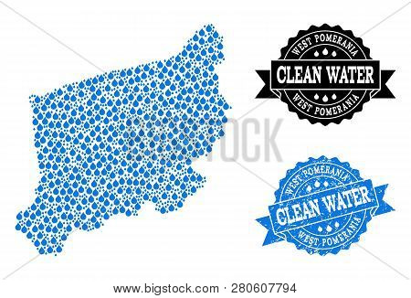 Map Of West Pomerania Province Vector Mosaic And Clean Water Grunge Stamp. Map Of West Pomerania Pro