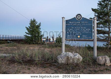 Paradise, Michigan, Usa - August 19, 2015: The Whitefish Point State Harbor And Marina. Whitefish Po