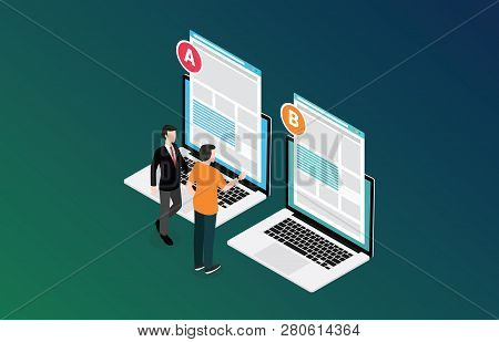 Isometric 3d Design Ab A B Split Testing Concept With Two Business Men Compare Test Result Between 2