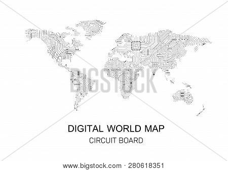 Digital World Map With Circuit Board Pattern Vector Illustration