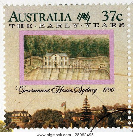 Luga, Russia - January 24, 2019:  A Stamp Printed By Australia Shows View Of Government House, Sydne