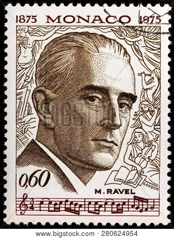 Luga, Russia - January 22, 2019:  A Stamp Printed By Monaco Shows Image Portrait Of Famous French Co