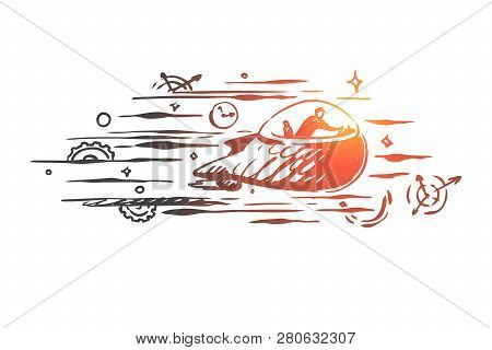 Time Machine, Time, Travel, Future, Past Concept. Hand Drawn Person Traveling In Time Machine Concep
