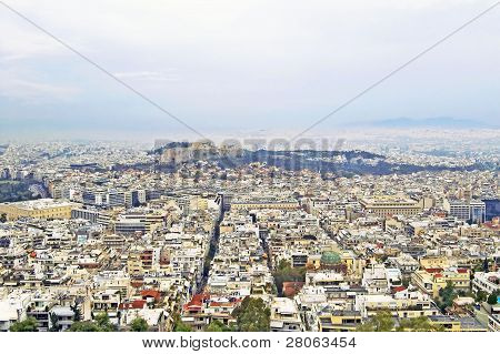 View Of Acropolis And Athens From Lykavittos Hill