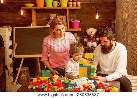 Fun Concept. Family Have Fun With Construction Set. Real Fun. Learning Is Fun.