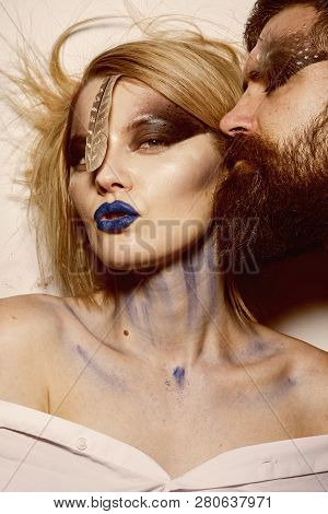 Makeup Art. Sensual Woman And Bearded Man With Makeup And Body Art. Makeup Art And Design. Makeup Is