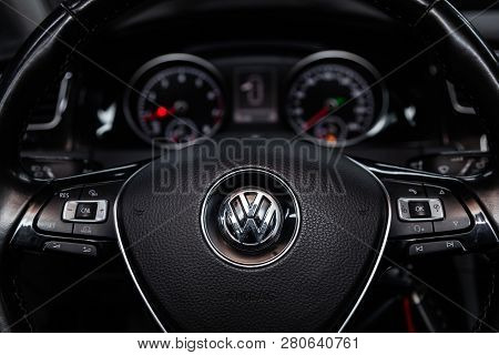 Novosibirsk, Russia - January 25, 2019:  Volkswagen Golf,   Close-up Of The Dashboard And Steering W