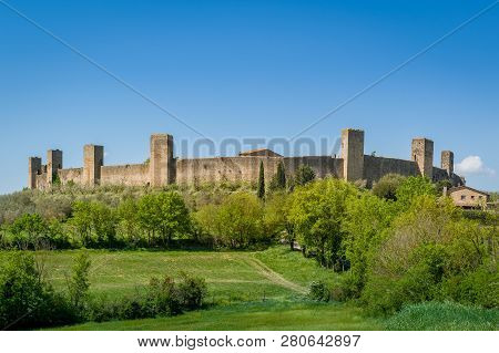 Monteriggioni Old Town Fortress Walls. Touristic Attraction Of Toscany, Italy.