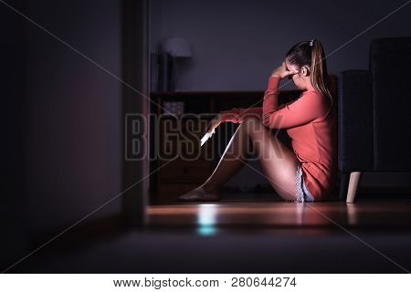 Sad Woman With Smartphone At Night. Ashamed Girl With Stress, Desperate Heartbroken Person Waiting F