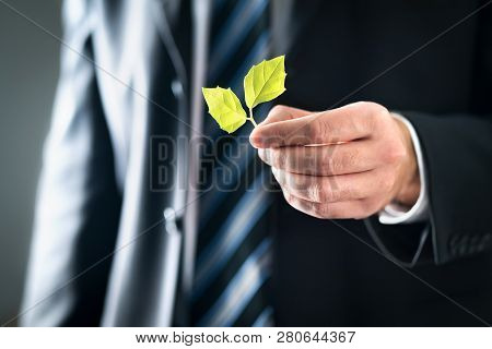 Environmental Lawyer Or Politician With Nature And Environment Friendly Values. Business Man In Suit
