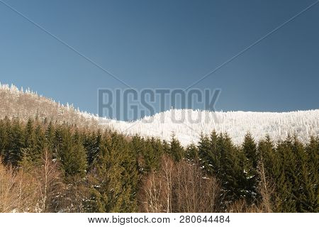 Frozen Lysa Hora Hill In Moravskoslezske Beskydy Mountains From Butoranka Above Ostravice Village Du