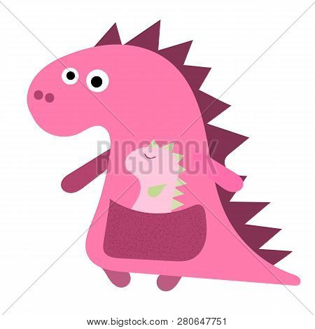 Cute Dino Mum With With A Little Dinosaur. Dino Pink Girl, Mum And Her Baby, Flat Hand Drawn Vector