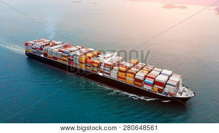 Aerial View Of Cargo Container Ship On Ocean.
