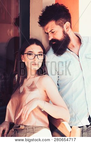 We Care Nothing But Fashion. Sensual Woman And Bearded Man In Love Relations. Girlfriend And Boyfrie
