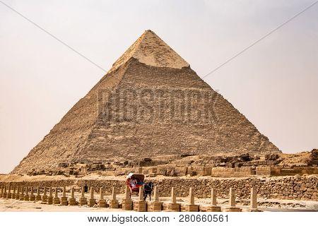 Cairo, Egypt 25.05.2018 The Great Pyramids Of Giza Desert Near Cairo In Egypt Unesco Cultural Herita
