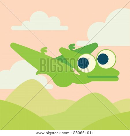 Cute Pterosaur Flying. Dinosaur Life. Vector Illustration Of Prehistoric Character In Flat Cartoon S