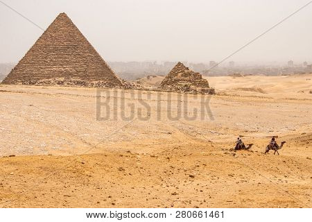 Cairo, Egypt 25.05.2018 The Great Pyramids Of Giza Desert Near Cairo In Egypt Unesco Cultural Herita