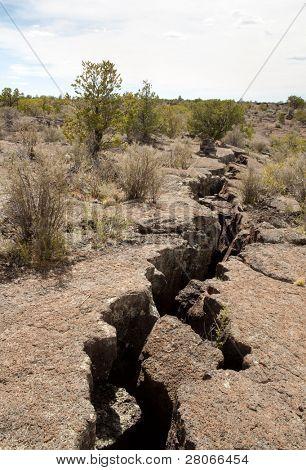 cracked lava rock crevice