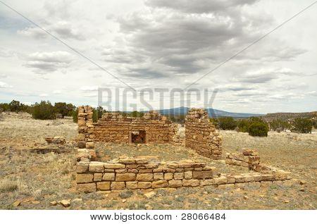 desert settler cabin ruins poster