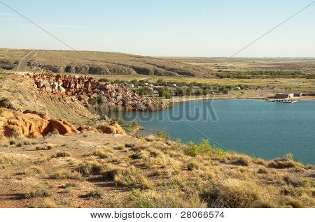 Bottomless Lakes State Park cliffs and lake