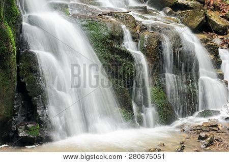 Bottom Of The Beautiful Waterfall Among The Forest. Wonderful Nature Scenery In Spring Or Summer. Hu