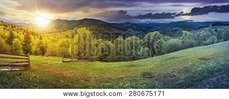 Day And Night Time Change Above Panorama Of Mountainous Countryside In Springtime. Beautiful Highlan