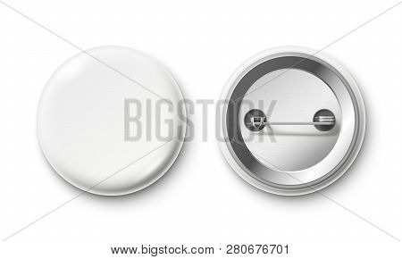 Blank Button Badge. White Pinback Badges, Pin Button And Pinned Back Realistic Isolated Vector Mocku