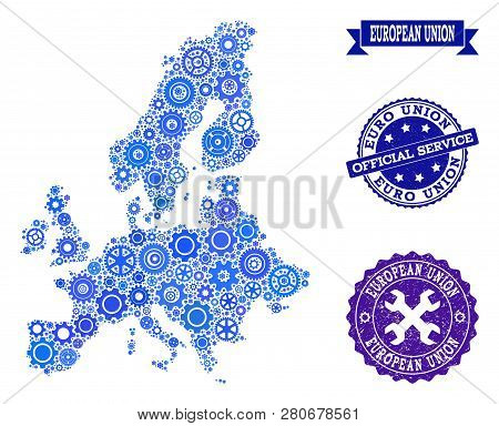 Map Of Euro Union Designed With Blue Cog Symbols, And Isolated Scratched Seals For Official Repair S