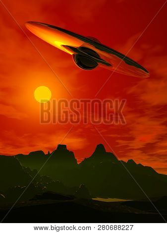 Alien Invasion. Flying Saucer In The Sky. A Spaceship Of Aliens.