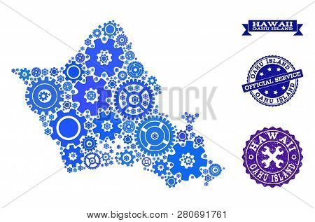 Map Of Oahu Island Created With Blue Wheel Symbols, And Isolated Scratched Seals For Official Repair