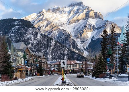 Banff, Alberta Canada - Jan 21, 2019: View Of Downtown Banff National Park, A Unesco World Heritage