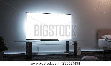 Blank White Tv Screen Room Interior In Darkness Mockup, 3d Rendering. Empty Lcd Widescreen Mock Up,