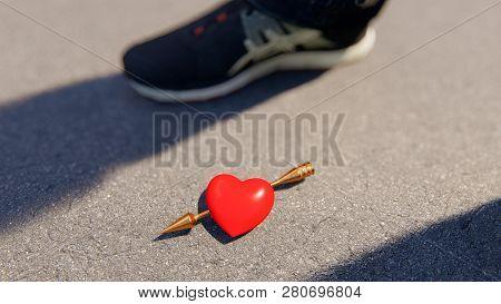 Red Heart With Amor Arrow On The Asphalt, Bokeh, 3d Rendering