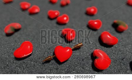 Red Hearts On The Asphalt, Bokeh, 3d Rendering