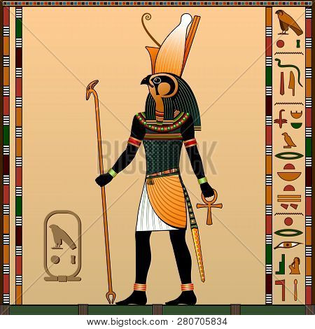 Religion Of Ancient Egypt. Horus Is The God Of Heaven, Of Royalty, The Patron Of The Pharaohs. Ancie