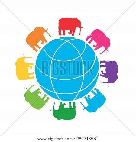 Rainbow Elephants Around The Globe. Vector Illustration Of Globe With Silhouettes Of Elephants.