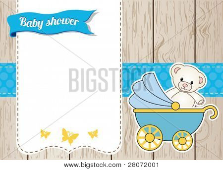 Baby shower card with blue stroller