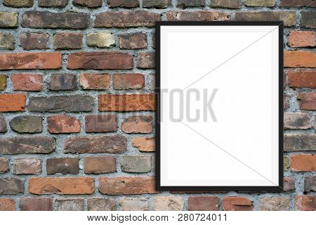 Empty Picture Frame  Mock-up  And Copy Space On Brick Stone Wall Background
