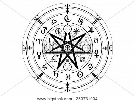 Wiccan Symbol Of Protection. Set Of Mandala Witches Runes, Mystic Wicca Divination. Ancient Occult S