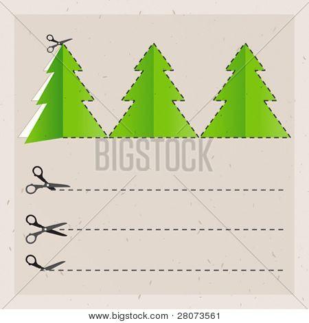 scissors cut Christmas tree. Old paper