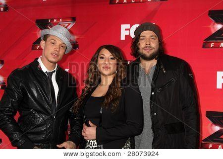 LOS ANGELES - DEC 19:  Chris Rene, Melanie Amaro, Josh Krajcik at the FOX's