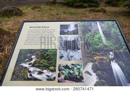 Watson Falls, Oregon - April 19, 2014:  An Informational Sign Explaining About Watson Falls At Watso