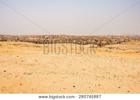 Cairo As Seen From The Pyramids Plateou In Guzeh, Egypt