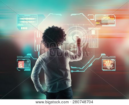 Man Working On A Futuristic Media Interface.