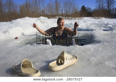 Woman in the ice-hole, hardening