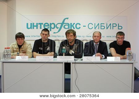 TOMSK, RUSSIA - JULY 1: S.Kiselev, Anatoly Merenkov, Aleksander Emelianenko, Maxim Maximov and Vasily Krylov at a press conference at the agency Inter-fax Siberia, July 1, 2009 in Tomsk, Russia.
