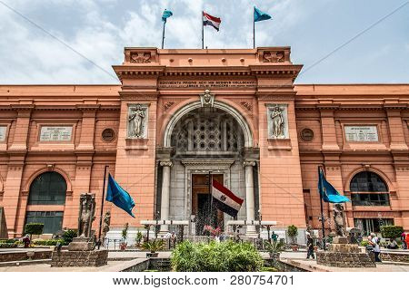 Cairo, Egypt 25.05.2019 Exterior Of The Egyptian Museum Antiquities One Of The Most Famous Museums O