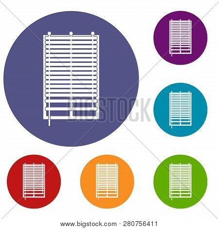 Window With Wooden Jalousie Icons Set In Flat Circle Red, Blue And Green Color For Web